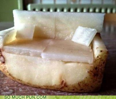 photo of a potato cut to look like a couch...couch potato