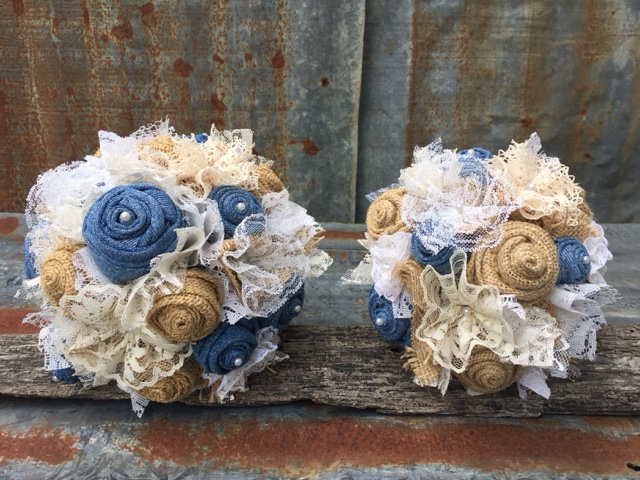 denim, lace, pearls, and burlap wedding bouquets