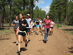 The Bosque High School Cross Country Camp participants run like wolves on Sections 20 & 21 of the Paseo del Lobo (Photo by J. Davis)