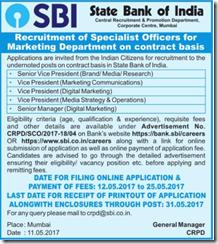 SBI Specialist Officer Advertisement 2017 www.indgovtjobs.in