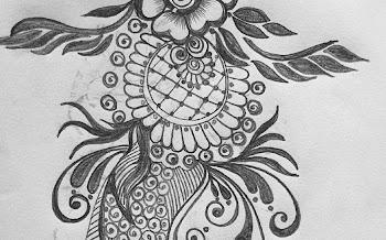 Cross Dots Peacock flower tattoo design