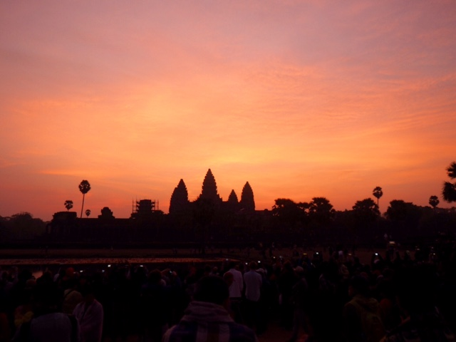 Silhouette of Angkor Wat at sunrise, Cambodia