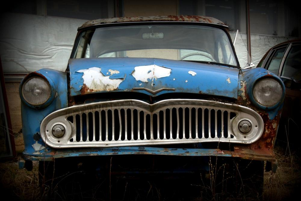 blue and white chevrolet car