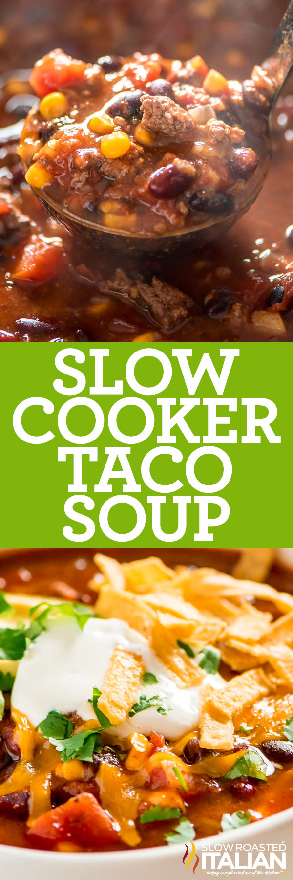 Slow Cooker Taco Soup Recipe closeup