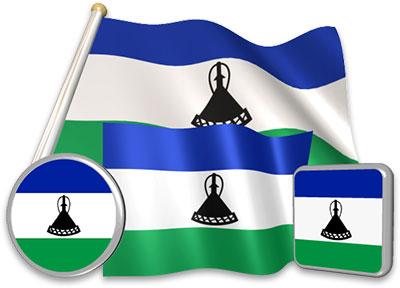 Basotho flag animated gif collection