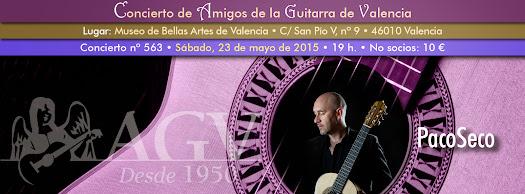 Concierto de PacoSeco, en Amigos de la Guitarra de Valencia