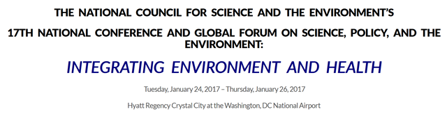 Screenshot from the web site of the National Council for Science and the Environment's 17th National Conference and Global Forum on Science, Policy, and the Environment, 24 January 2017. Graphic: NCSE