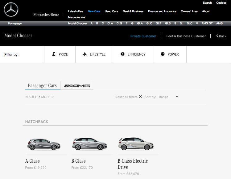 Mercedes-Benz model chooser