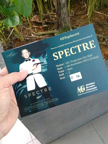 kad jemputan menonton filem bond Spectre