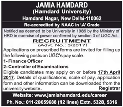 Jamia Hamdard Notification 2017 www.indgovtjobs.in