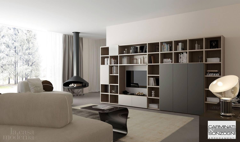 mobile da soggiorno moderno,libreria a terra collezione Modula .jpg
