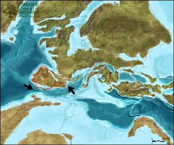 En el mapa se aprecia la prefosa alpina que originará el valle del Ebro y el estrecho de Gibraltar. Fuente: http://cpgeosystems.com/