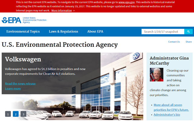 Screenshot of the EPA mirror site, archived on 15 February 2017 in the event that Trump guts the EPA. Graphic: EPA