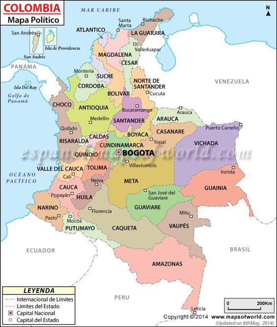 Mapa politico de Colombia con sus departamentos y Capitales5