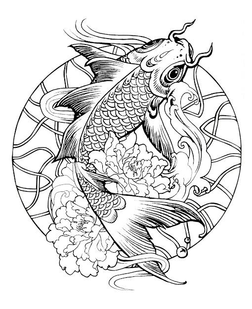 Coloringpagemandalafishcarp Free To Print
