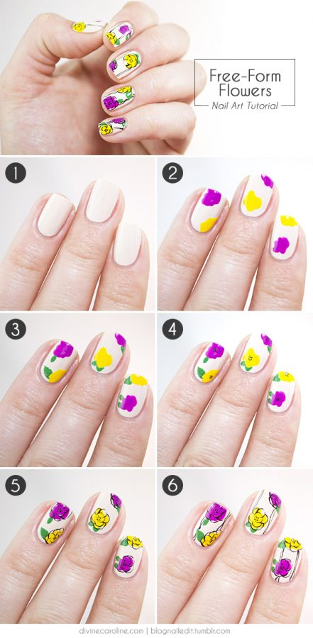 Step By Step Flower Nail Art Tutorials Nails C