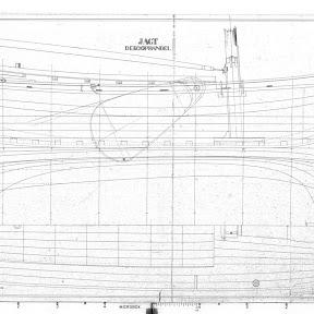 Tekening van 'zusterscheepje'Aebelina,opgemeten door de Haas in monnikendam 1895.