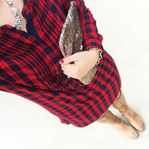 holiday style, plaid shirt dress, sequin clutch