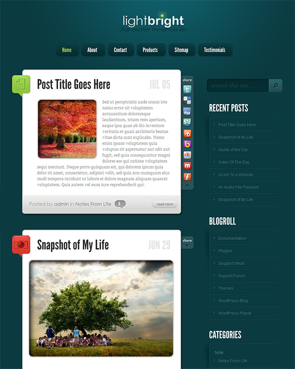 LightBright WordPress Tumblr Theme for Microblogging