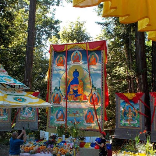 Medicine Buddha Festival Day with large thangka (24 ft), Land of Medicine Buddha, CA, USA.