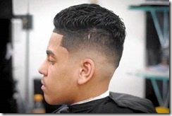 Slicked back long top fade
