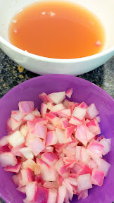 Quick pickling the diced red onions is easy, just onions, and then boiled water with apple cider vinegar and some sugar