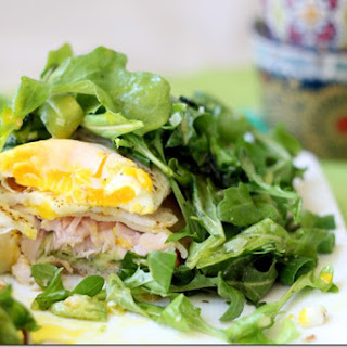 Lemon-dressed Arugula over Turkey, Egg and Avocado Toast