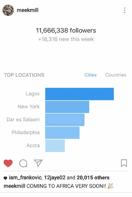 Meek Mill Coming To Africa After Rating Shows Most Followers Were Lagos Based