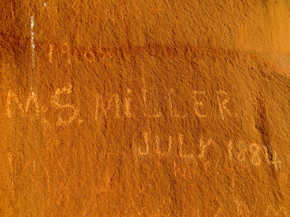 Inscription in Miller Canyon:  M.S. Miller, July 1884