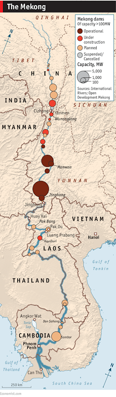 Map showing the proliferation of dams along the Mekong river. China has built six hydroelectric dams on its stretch of the Mekong; Laos and Cambodia plan another 11, along with dozens more on its major tributaries. Though power demand in the booming Mekong region is soaring, these dams will not come close to satisfying it. Instead, they threaten regional fish stocks and farmland, and may leave millions of people poor, hungry, and displaced. China and Laos will reap the benefits; Cambodia and Vietnam will bear most of the costs. Graphic: Economist.com