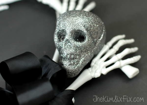 Glitter skull and bones wreath