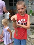 Zach caught a big gecko in Taidong