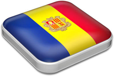 Flag of Andorra with metallic square frame