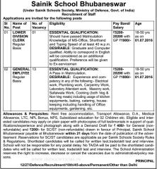 Sainik School Bhubaneswar Jobs 2016 indgovtjobs