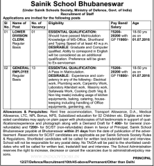 Sainik School Bhubaneswar Jobs 2020 indialjobs