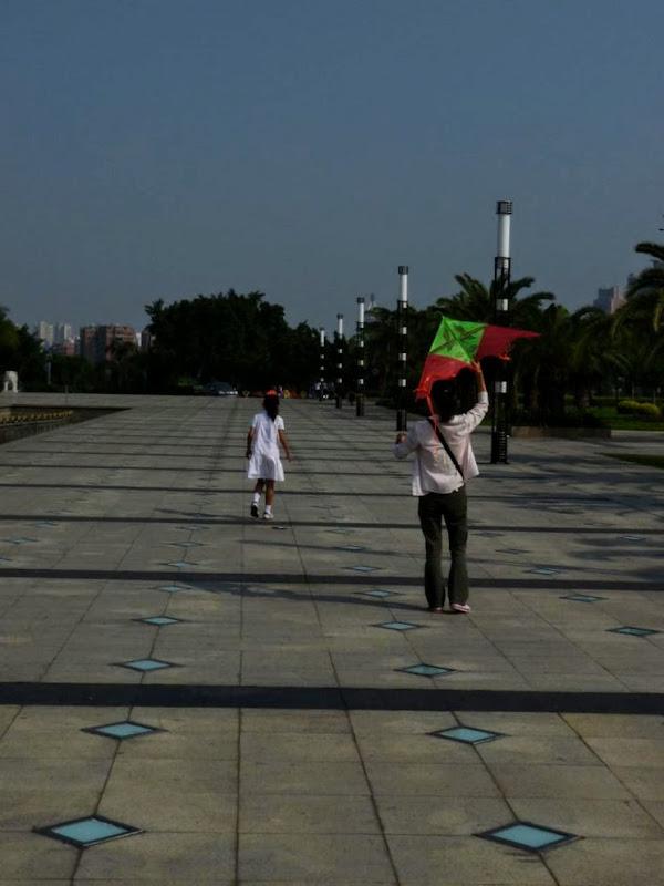Xiamen, dans un autre parc.Apprentissage du cerf volant