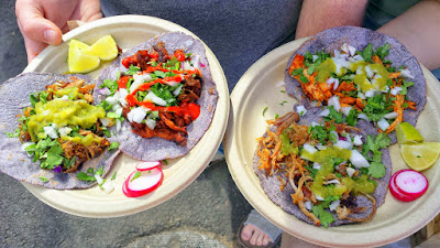 Portland Mercado has 8 carts in their food cart pod, where each food cart specializes in different Latin cuisine. Tierra del Sol specializes in Oaxacan Cuisine. They use blue corn tortillas on their tacos, quesadillas, and mole enchiladas.