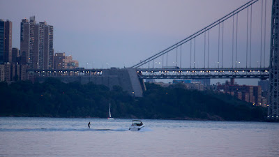 Water skiing in front of GWB from Undercliff (Palisades Park) Picnic area
