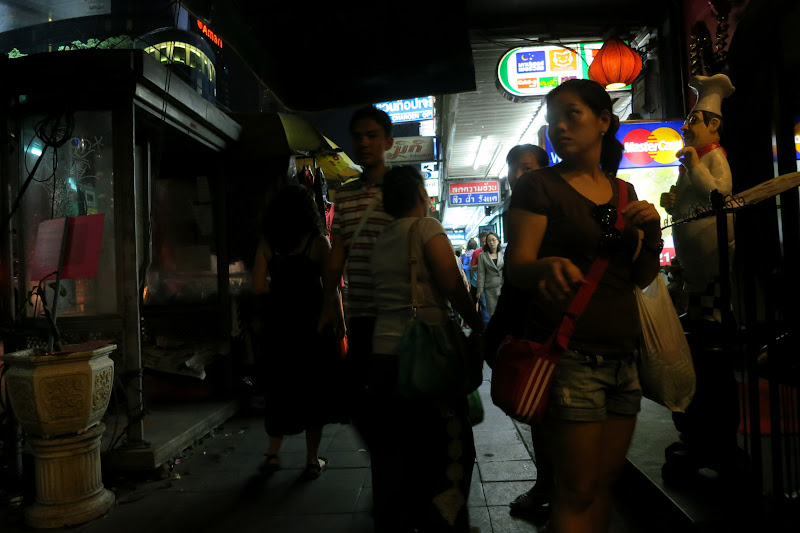 Bangkok sidewalk at night