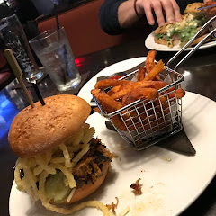 Gluten free/dairy free pulled pork sandwich with sweet potato fries!