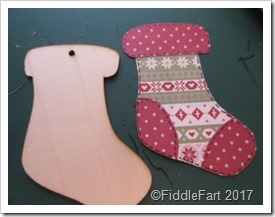 nordic style wooden Christmas stocking tag.