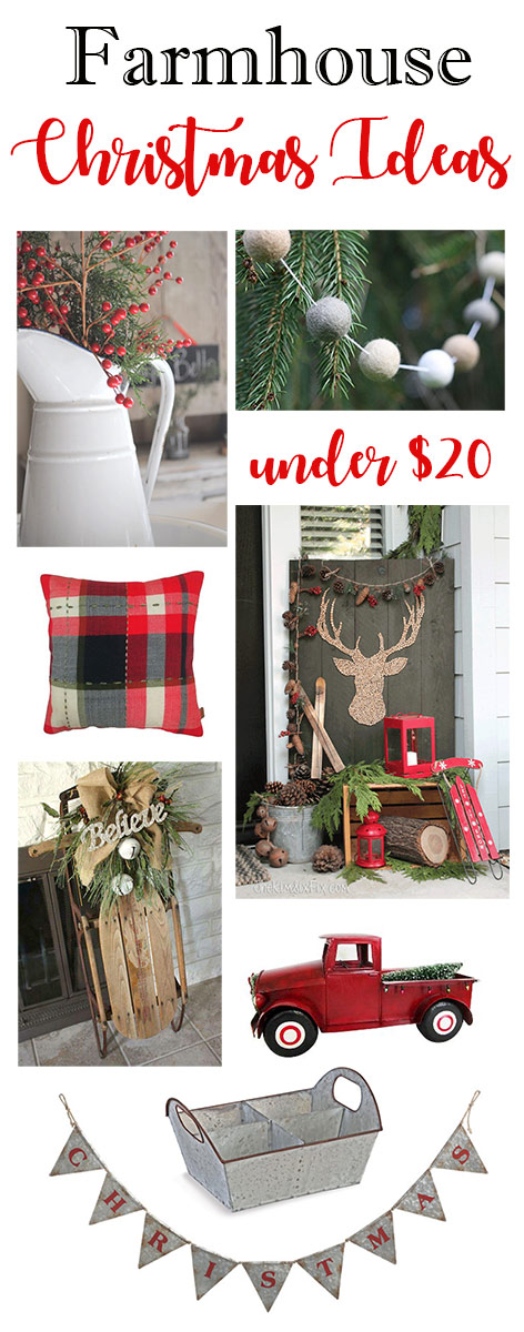 Farmhouse Christmas Decor Ideas Under 20