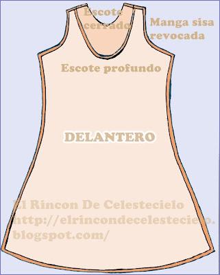 Vista de patrón delantero de vestido con falda ecualizada