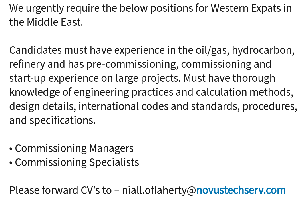 Commissioning jobs pre 676 Pre