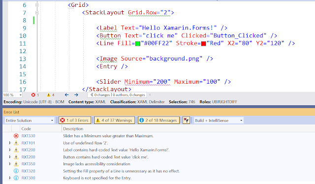 Screenshot showing issues highlighted in the editor
