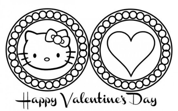 Cute Hello Kitty Valentines Day Coloring Pages