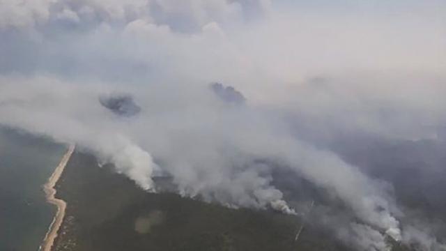 Aerial view of bushfires in Queensland, Australia, 28 November 2018. Photo: EPA