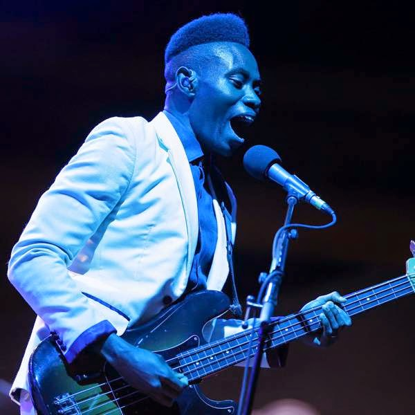 Member of Metronomy, British Olugbenga Adelekan performs on stage of the Nice Jazz Festival on July 9, 2014 in Nice, southeastern France.