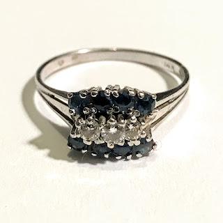 14K White Gold, Sapphire, and Diamond Ring