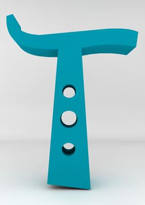 lettre 3D homme joker turquoise - T - images libres de droit